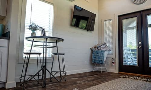 lounge area in a tiny home for rent in nashville tennessee