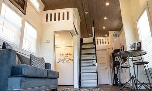 High ceiling interior tiny home