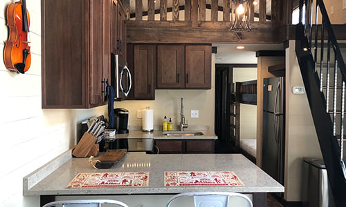 tiny kitchen in a tiny house for rent in nashville tn