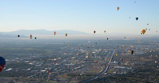 Balloons fly at the Albuquerque Ballon Fiesta