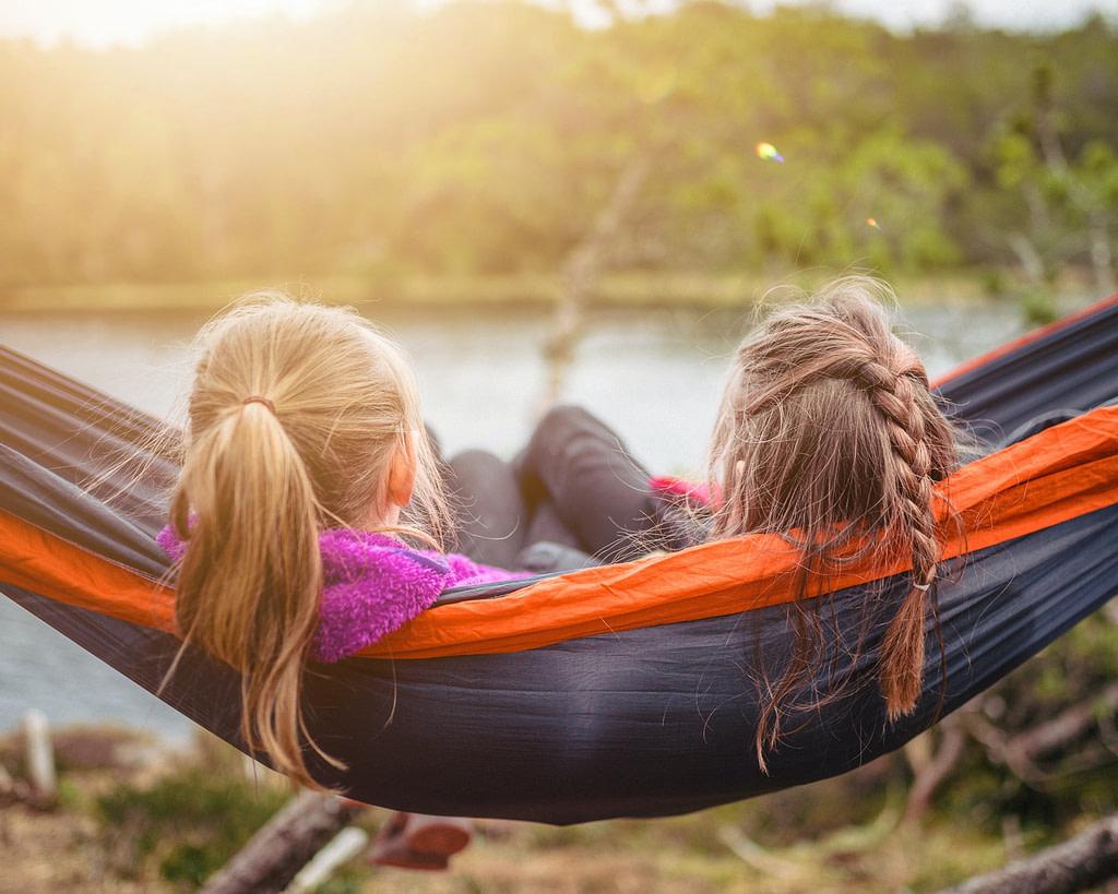 Relaxing outside in hammock