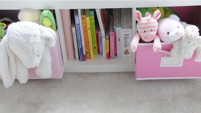 rv toy storage   ikea shelf with books and toys