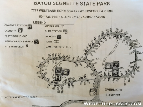 Bayou Segnette State Park Campground map