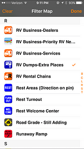 Allstays Camp and RV App filters