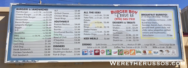 Burger Boy Drive In Menu Cortez CO