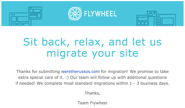 Flywheel free site migration