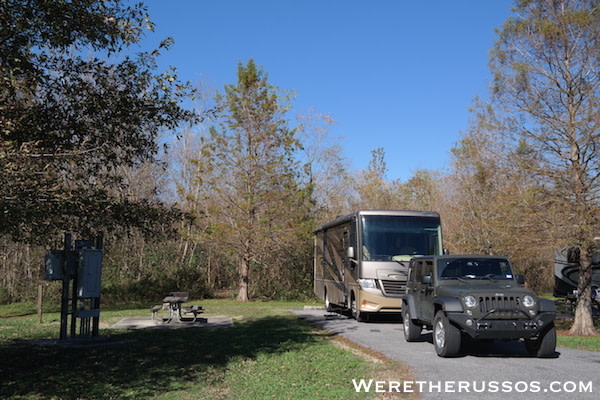 RV Camping at Bayou Segnette State Park