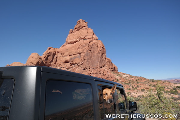 Arches dukes head out Jeep
