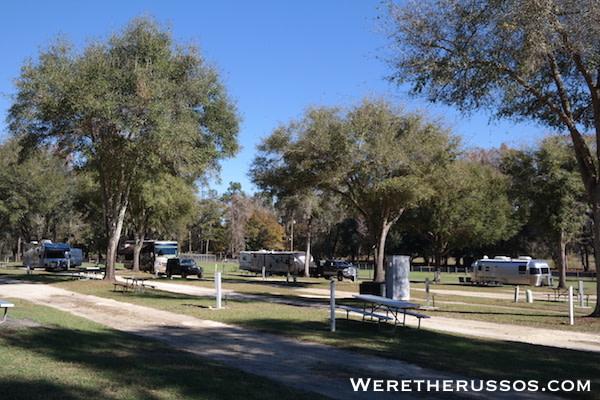 Travelers Campground Alachua Florida RV sites