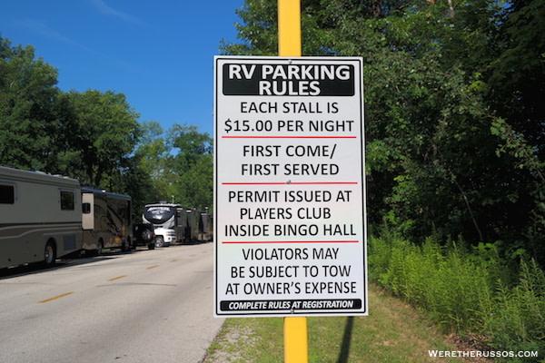 Oneida Casino RV Parking Rules