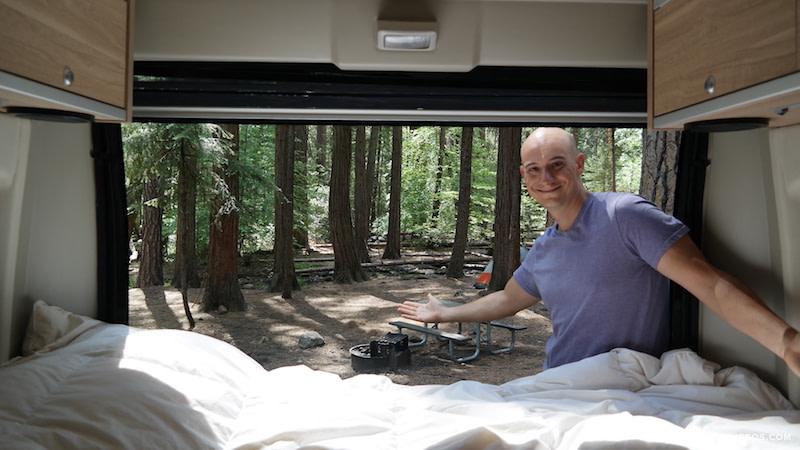 Upper Pines Campground camper van view