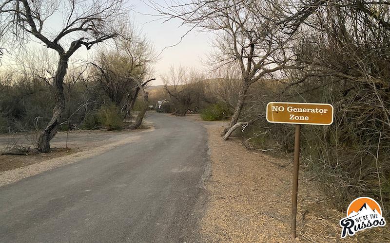 Campground Generator Zone Big Bend National Park