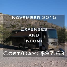 Full Time RVing Costs: Motorhome Edition - November 2015