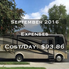 Full Time RVing Costs: Motorhome Edition - September 2016