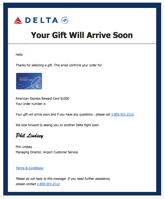 Delta Gift Card Email