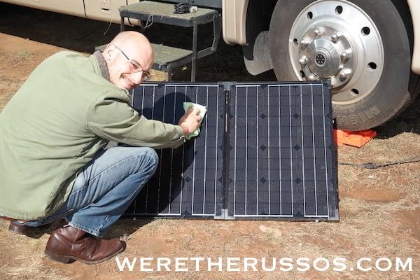 Renogy Portable Solar Panel - wiping