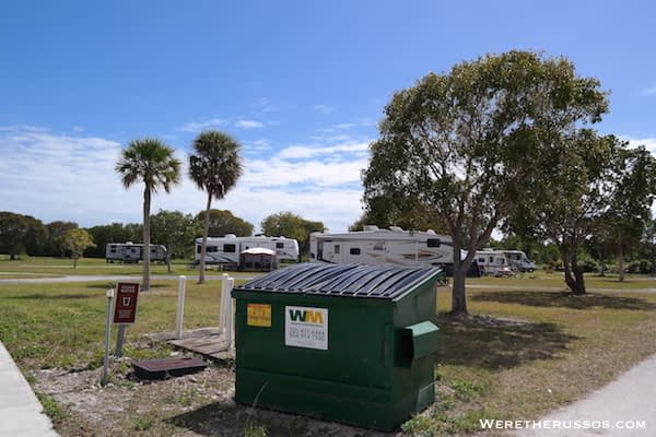 Flamingo Campground Everglades dumpster
