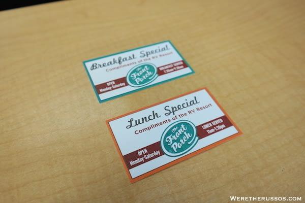 Lazy Days RV Resort meal tickets