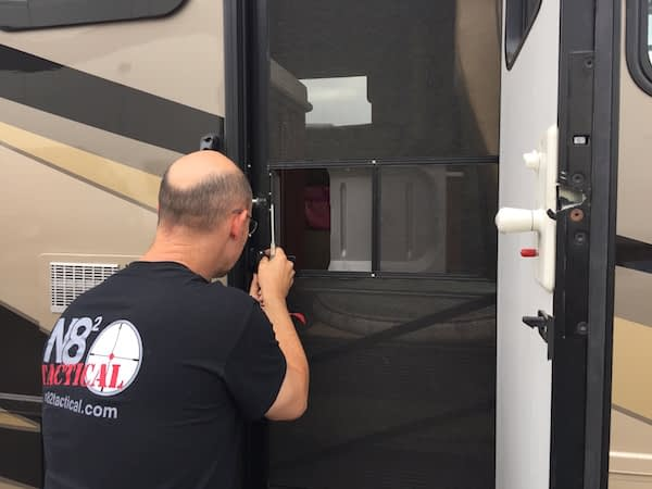 Joe fixing newmar door