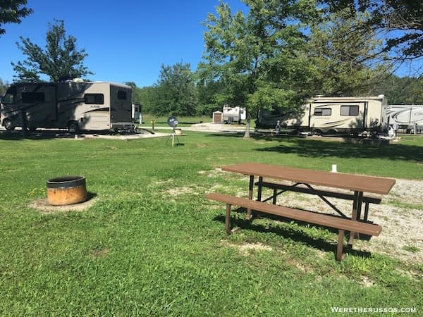 Kenisee Lake Thousand Trails fire ring and picnic table