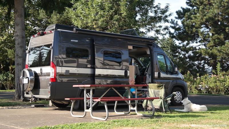 Portland Fairview RV Park pull thru site 75